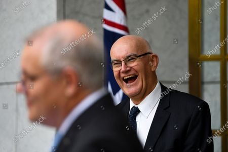 Therapeutic Goods Administration (TGA) head Professor John Skerritt reacts during a press conference at Parliament House in Canberra, Australia, 03 December 2020. Australian Prime minister Scott Morrison discussed details of the roll-out of the COVID-19 vaccine in Australia.