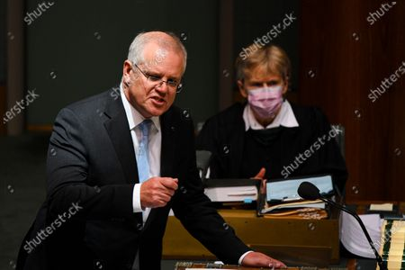 Australian Prime Minister Scott Morrison speaks during House of Representatives Question Time at Parliament House in Canberra, Australia, 03 December 2020.