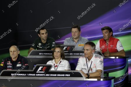 Yas Marina Circuit, Abu Dhabi, United Arab Emirates. Friday 1st November 2013. Franz Tost, Team Principal, Toro Rosso, Cyril Abiteboul, Team Principal, Caterham F1, Claire Williams, Deputy Team Principal, Williams F1, Paul Hembery, Director, Pirelli, Greame Lowdon, President and Sporting Director, Marussia F1, and Martin Whitmarsh, Team Principal, McLaren, in the Friday Press Conference. World Copyright: Andrew Hone/LAT Photographic.