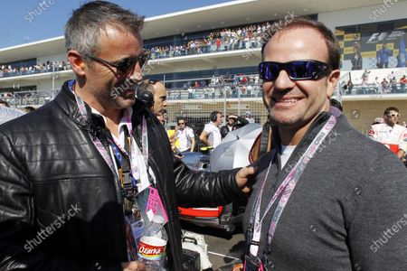 Circuit of the Americas, Austin, Texas, United States of America. Sunday 18th November 2012. Actor Matt le Blanc and racer Rubens Barrichello on the grid. World Copyright:Steven Tee/
