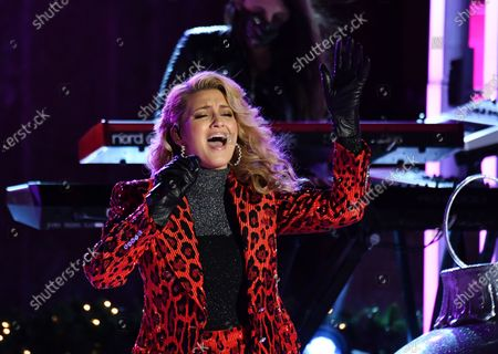 Stock Image of Singer Tori Kelly performs at the 88th annual Rockefeller Christmas Tree Lighting in New York City.