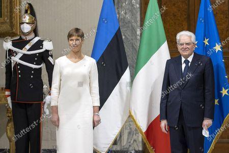President of Estonia Kersti Kaljulaid with Italian Republic President Sergio Mattarella during the meeting