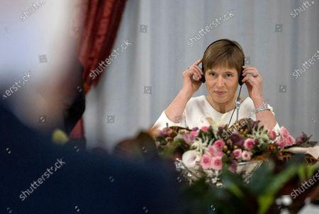 Stock Photo of President of Estonia Kersti Kaljulaid during the meeting