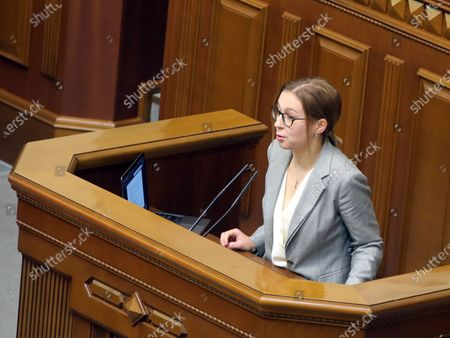 Stock Photo of MP Inna Sovsun delivers a speech during a regular sitting of the Ukrainian parliament, Kyiv, capital of Ukraine.