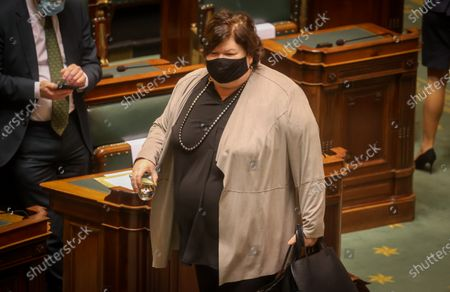Open Vld's Maggie De Block pictured during a plenary session of the Chamber at the Federal Parliament in Brussels, Thursday 03 December 2020.