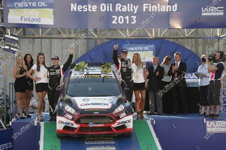 2013 FIA World Rally Championship Round 08-Rally Finland 31/7-3/8 2013. Jari Ketomaa, Marko Sallinen, Ford WRC 2, Podium. Worldwide Copyright: McKlein/LAT