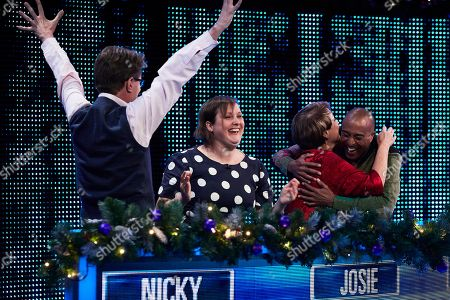 Stock Photo of (L-R) Nicky Campbell, Josie Long, Anne Diamond and Colin Jackson