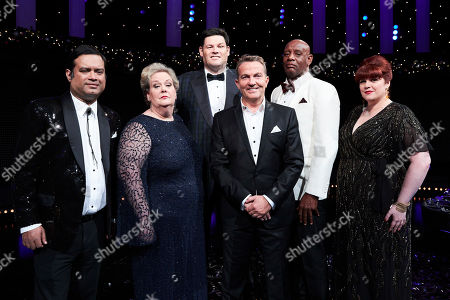 (L-R) Paul Sinha, Anne Hegerty, Mark Labbett, Bradley Walsh, Shaun Wallace and Jenny Ryan