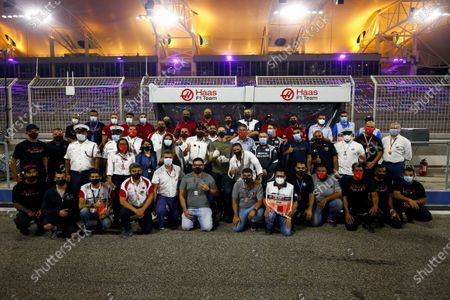 Romain Grosjean, Haas F1 meets the marshals and medical staff including Doctor Ian Roberts, medical car driver Alan van der Merwe who helped him in his crash at last weeks Grand Prix during the 2020 Formula One Sakhir Grand Prix