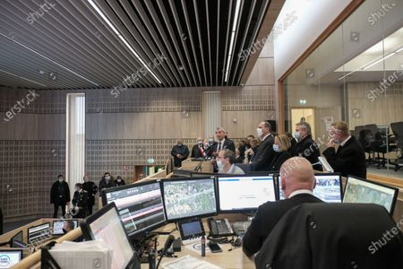 Prime Minister Jean Castex, and the mayor of Calais Natacha Bouchart, during the presentation of the Eurotunnel installations and the issues linked to Brexit by the president of Getlink Jacques Gounon.