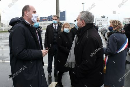 Prime Minister Jean Castex discusses with the president of the Hauts de France region Xavier Bertrand after his visit to the cargo control chain at the port of Calais.