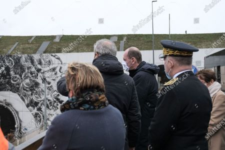 Prime Minister Jean Castex, accompanied by the mayor of Calais Natacha Bouchart, the president of Getlink Jacques Gounon at Eurotunnel Le Shuttle, the piggyback service operated by Eurotunnel in the Channel Tunnel.