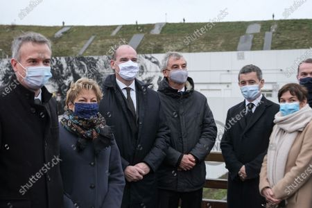 Prime Minister Jean Castex, accompanied by the mayor of Calais Natacha Bouchart, the president of Getlink Jacques Gounon, the Minister of the Sea Annick Girardin, and the Minister of the Interior Gerald Darmanin at Eurotunnel Le Shuttle, the piggyback service operated by Eurotunnel in the Channel Tunnel.