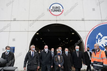 Prime Minister Jean Castex, accompanied by the mayor of Calais Natacha Bouchart, the president of Getlink Jacques Gounon, after their visit to the interior of a tunnel at Eurotunnel Le Shuttle, the piggyback service operated by Eurotunnel in the channel tunnel.