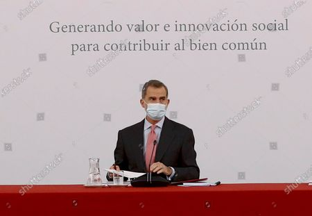 Spain's King Felipe VI chairs a meeting with the Carolina Foundation in Madrid, Spain, 03 December 2020.