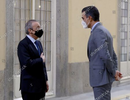 Stock Image of Spanish Prime Minister Pedro Sanchez (R) greets ACS president Florentino Perez (L) before a meeting with the Carolina Foundation in Madrid, Spain, 03 December 2020.