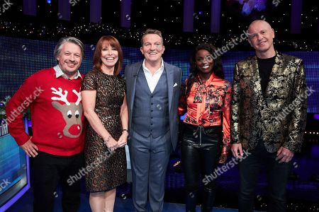 (L-R) Richard Herring, Kay Burley, Bradley Walsh, Eni Aluko and Tim Lovejoy