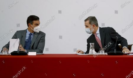 King Felipe VI, Pedro Sanchez, Prime Minister attends 31st ordinary session of the Board of Trustees of the Carolina Foundation. King Felipe VI in his first event after 10 days of quarantine for contact with a coronavirus positive
