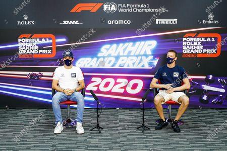 Pierre Gasly, AlphaTauri, and Daniil Kvyat, AlphaTauri, in the Press Conference  during the 2020 Formula One Sakhir Grand Prix