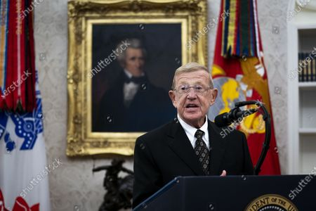 Former Football coach Lou Holtz makes remarks before receiving the Medal of Freedom from United States President Donald J. Trump in the Oval Office of the White House in Washington, DC,.