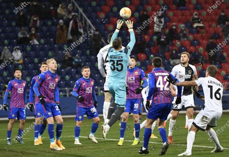 Stock Picture of CSKA Moscow's goalkeeper Igor Akinfeev (C) in action during the UEFA Europa League goup K soccer match between CSKA Moscow and Wolfsberger AC in Moscow, Russia, 03 December 2020.