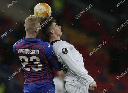 Stock Image of Hordur Bjorgvin Magnusson (L) of CSKA Moscow in action against Dario Vizinger (R) of Wolfsberg during the UEFA Europa League goup K soccer match between CSKA Moscow and Wolfsberger AC in Moscow, Russia, 03 December 2020.