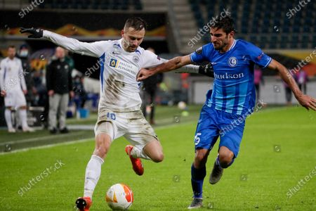 Jakub Pesek (L) of Liberec and Milad Mohammadi (R) of Gent in action during the UEFA Europa League group L soccer match between KAA Gent and FC Slovan Liberec in Gent, Belgium, 03 December 2020.