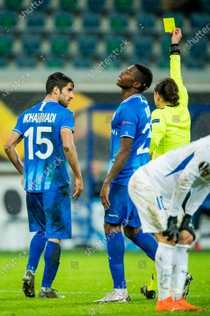 Gent's Milad Mohammadi receives a yellow card from and Referee Ukrainian Kateryna Monzul a soccer game between Belgian club KAA Gent and Czech team Slovan Liberec FC, Thursday 03 December 2020 in Gent, on day 5 of the group phase (group L) of the UEFA Europa League competition.