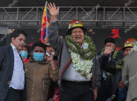 Former Bolivian President Evo Morales participates at a rally in El Alto, Bolivia, 03 December 2020. Morales returns for the first time to La Paz to coordinate the actions of his party, the Movement for Socialism (MAS), for the subnational elections.