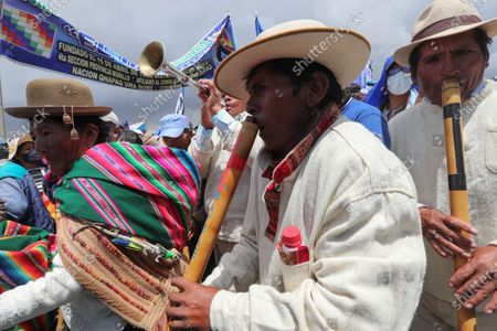 Dozens of Aymara people attend a rally with the presence of former Bolivian President Evo Morales, in El Alto, Bolivia, 03 December 2020. Morales returns for the first time to La Paz to coordinate the actions of his party, the Movement for Socialism (MAS), for the subnational elections.