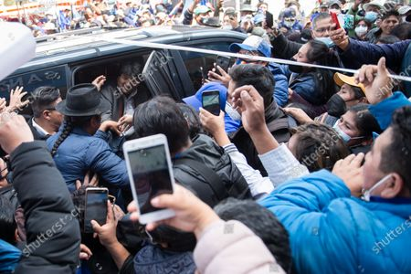 Former Bolivian president Evo Morales arrives at a market in El Alto where he is to give a speech. He resigned on November 10th 2019 in the midst of a severe political crisis.