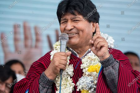 Former Bolivian president Evo Morales participates in an event at a market in El Alto. He resigned on November 10th 2019 in the midst of a severe political crisis.