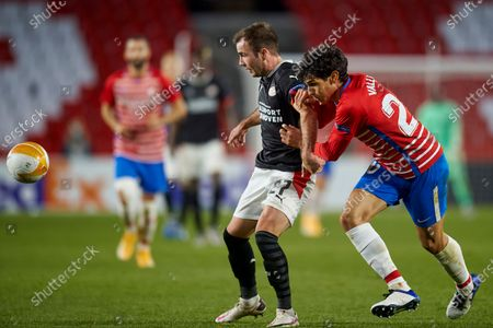 Mario Gotze of PSV Eindhoven and Jesus Vallejo of Granada CF