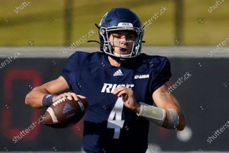 Stock Photo of Rice University quarterback Mike Collins (4) looks to pass during an NCAA football game against Middle Tennessee in Houston, on . Rice and No. 15 Marshall meet on Saturday, Dec. 5 in a game that was postponed from Oct. 3