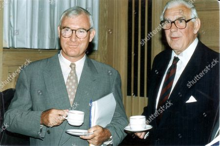 Editorial picture of John Birt (l) (director General Of The Bbc) And Marmaduke Hussey (the Corporation's Chairman) Enjoy A Relaxing Moment.