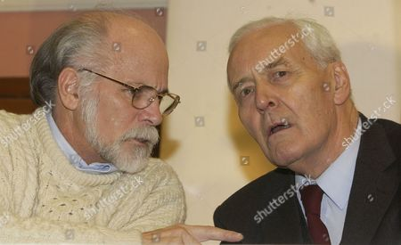 War Veteran Ron Kovic In Conversation With Politician Tony Benn At The 'stop The War' Meeting At Friends House. A Home-made Rally At The Friends Meeting House In Euston London.