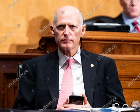 U.S. Senator Rick Scott (R-FL) at a hearing of the Senate Homeland Security and Governmental Affairs Committee.