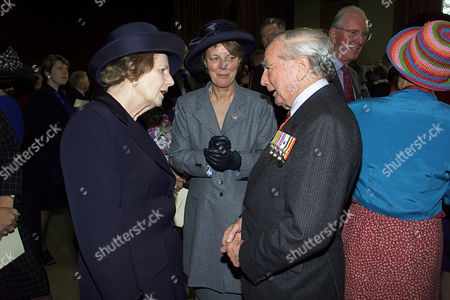 Baroness Thatcher Talking Former Falklands Governor Rex Hunt At Pangbourne College After The Opening Of The Falkland Islands Memorial Chapel.