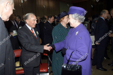 Queen Talking To The Former Falklands Governor Rex Hunt At Pangbourne College After The Opening Of The Falkland Islands Memorial Chapel