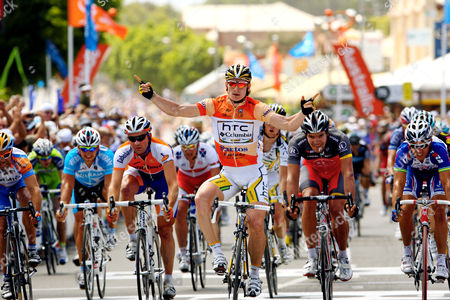 Andre Greipel (HTC-Columbia) celebrates his third stage victory. Robbie McEwen (Katusha) was second and Graeme Brown (Rabobank) third. Gert Steegmans (RadioShack) came fourth.