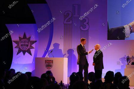 Grand Connaught Rooms, London, England. 3rd December 2012. Jake Humphrey with Murray Walker. World Copyright: Jakob Ebrey/LAT Photographic