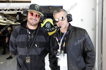 Circuit of the Americas, Austin, Texas, United States of America. Saturday 17th November 2012. Rally driver Ken Block and Actor Matt le Blanc in the Lotus garage. World Copyright:Andrew Ferraro/
