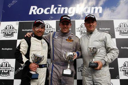 Rockingham, Northamptonshire. 3rd - 4th September 2011. Race 1 Podium (l-r) Mark Shaw, Jamie Orton, Andrew McMillan. World Copyright: Ebrey/LAT Photographic.