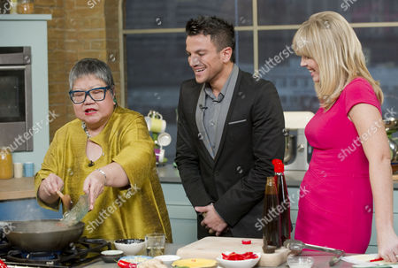 Nancy Lam with Peter Andre and Kate Thornton.