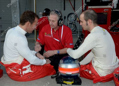 7-8 February, 2013, Sebring, Florida, USA.#62 Risi Competizione's team manger, David Sims with drivers. ©2013, Dan R. Boyd Lat Photo USA