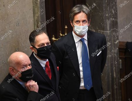 Main defendant, former Austrian finance minister Karl-Heinz Grasser (R) together with his attorneys Manfred Ainedter (L) and Norbert Wess (C) at the start of the verdict in the trial over suspected bribery and breach of trust in the Buwog privatization, at the Regional Court in Vienna, Austria, 04 December 2020. Ex-Finance Minister Karl-Heinz Grasser was sentenced to eight years in prison for breach of trust and acceptance of gifts by officials. All judgments are not final.