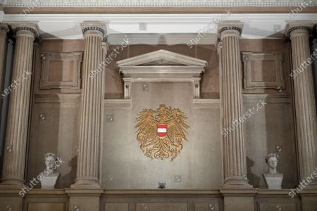 The Coat of Arms of Austria at the courtroom during the verdict in the trial over suspected bribery and breach of trust in the Buwog privatization, at the Regional Court in Vienna, Austria, 04 December 2020. Ex-Finance Minister Karl-Heinz Grasser was sentenced to eight years in prison for breach of trust and acceptance of gifts by officials. The lobbyists Walter Meischberger and Peter Hochegger were sentenced to seven and six years' imprisonment respectively. All judgments are not final.