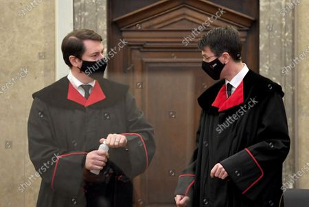Public prosecutor Alexander Marchart and Gerald Denk at the start of the verdict in the trial over suspected bribery and breach of trust in the Buwog privatization, at the Regional Court in Vienna, Austria, 04 December 2020. Ex-Finance Minister Karl-Heinz Grasser was sentenced to eight years in prison for breach of trust and acceptance of gifts by officials. All judgments are not final.