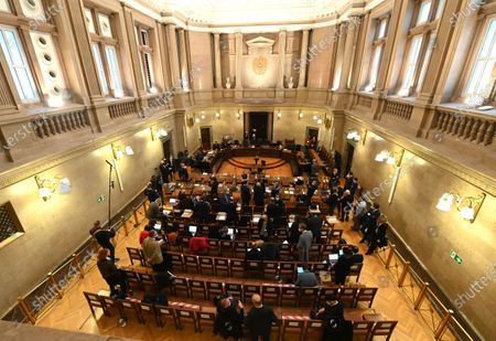 The ourtroom during the verdict in the trial over suspected bribery and breach of trust in the Buwog privatization, at the Regional Court in Vienna, Austria, 04 December 2020. Ex-Finance Minister Karl-Heinz Grasser was sentenced to eight years in prison for breach of trust and acceptance of gifts by officials. The lobbyists Walter Meischberger and Peter Hochegger were sentenced to seven and six years' imprisonment respectively. All judgments are not final.