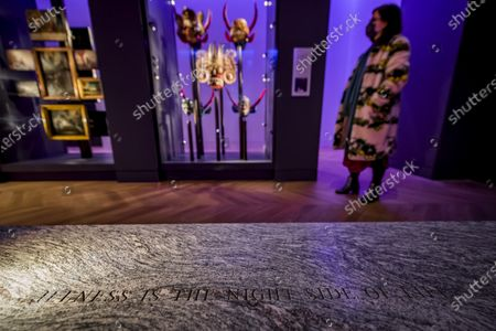 Jenny Holzer's artwork - For Science - in Medicine: The Wellcome Galleries of the Science Museum - marking a year since the opening of that gallery and the re-opening of the Museum after the second covid 19 lockdown. The work comprises two benches that offer a place of respite and reflection in the gallery. . Constructed from Silver Cloud granite, the benches are inscribed with words from two writers who experienced medical treatment: Susan Sontag and Paul Kalanithi. The texts are taken from Sontag's Illness as Metaphor from 1978 - 'Illness is the night-side of life' - and Kalanithi's When Breath Becomes Air from 2016 - 'What kind of life exists without language?'.